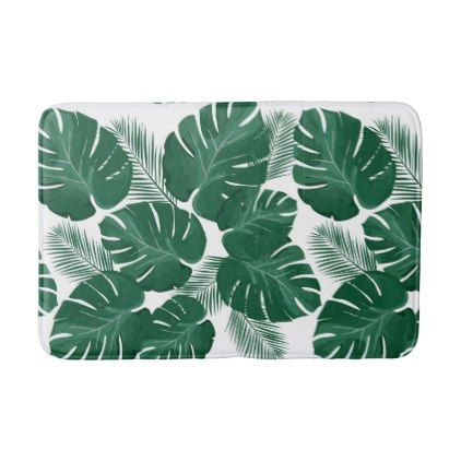 #Tropical Palm Tree Leaves Bath Mat - #Bathroom #Accessories #home #living