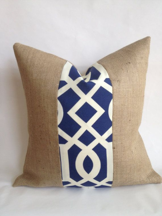 Navy and White Outdoor Fabric and Burlap Pillow by BouteilleChic