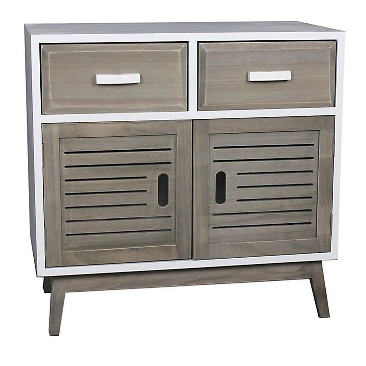 WOODEN CABINET IN WHITE-BEIGE COLOR 60X30X58.5 - Showcases - Closets - FURNITURE