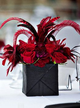 Wedding, Flowers, Reception, Centerpiece, Red, Black, Fujikos flowers, Table arrangements Cute & vegas-y! Could get those glittered black boxes from dollar store? Ones made for wrapping