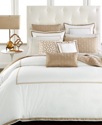 Hotel Collection designed this classic-style comforter with ultra-soft crisp white Egyptian cotton framed by an intricate lines of embroidery. The comforter is available in a variety of rich color acc