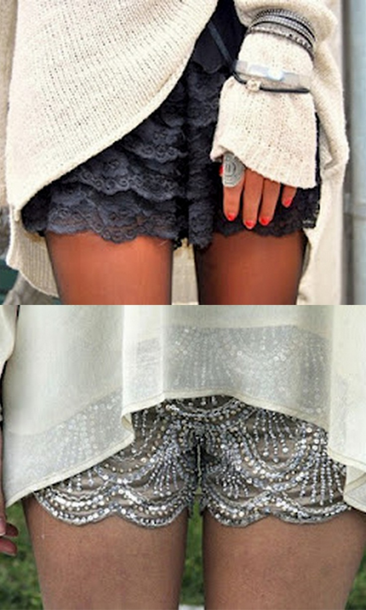 double dose ~ cute-sexy-chic ~ Scalloped Hem Lace Shorts ~ wear during the day or to party on at night!