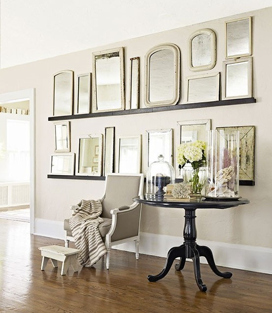 Another take on a gallery wall...just on shelves & w/ tons of mirrors. | #dishfunctionaldesigns #mirrors