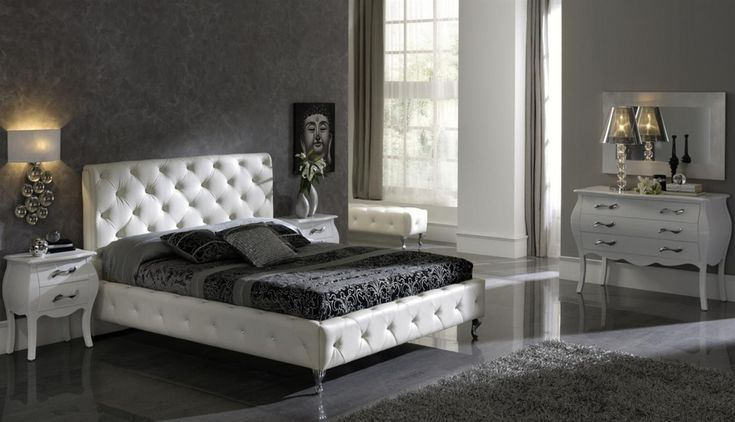 Interior, Achromatic Bedrooms with Gorgeous Combination of Black White Color: Luxury Black White Bedroom With Leather Set