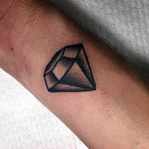 Small Black Ink Outline Shaded Diamond Tattoo For Gentlemen On Wrist