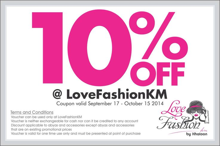 10% off at LovefashionKM on abayas and Accessories (excluding abayas and Accesories that are on existing promotional prices) Valid till 15 October 2014. Terms and Conditions Apply. #lovefashionkm