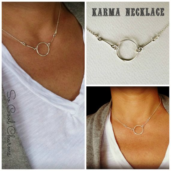 Sterling Silver KARMA Necklace Infinity silver by SoCoolCharms
