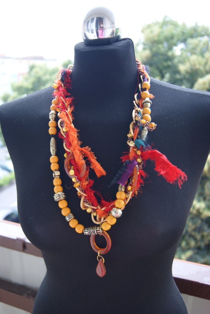 sari necklace | multicolour necklace-recycling sari silk ribbon wood