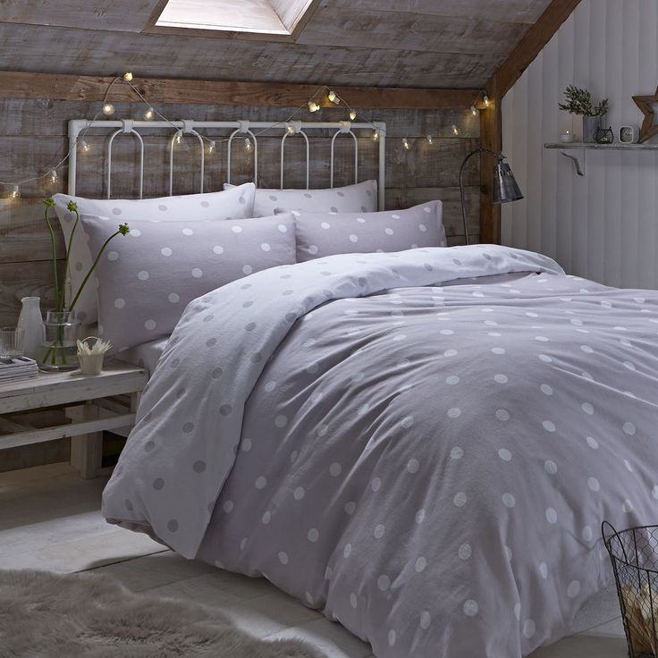 catherine lansfield brushed polka natural flannelette duvet cover bedding set