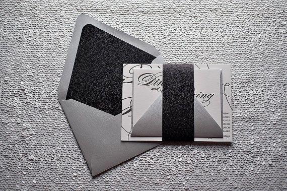 SAMPLE - Sparkling Elegance - Glitter Letterpress Wedding Invitation - Silver and Black - by JustInviteMe, $10.50