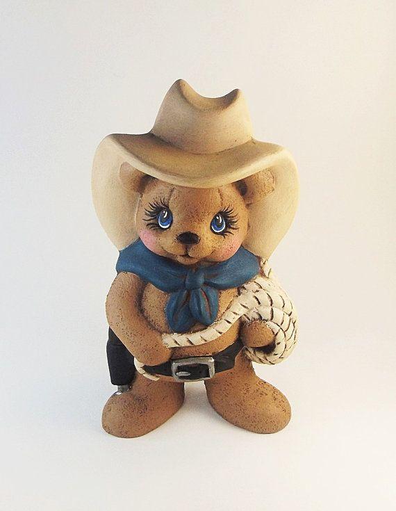 Ceramic Teddy Bear | Cowboy Teddy Bear | Hand Painted Ceramics, Cowboy Bear