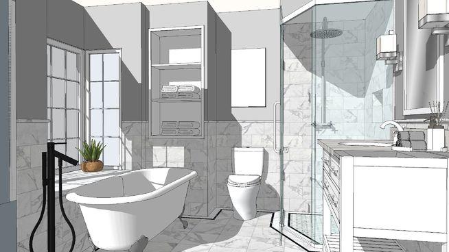 Gary bathroom white stone - 3D Warehouse