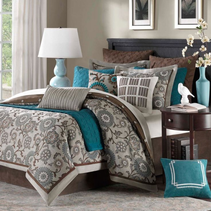 Perfect Color Combination Of Chocolate Gray And Teal Bedroom Color Scheme  Appealing Grey And Teal Bedroom