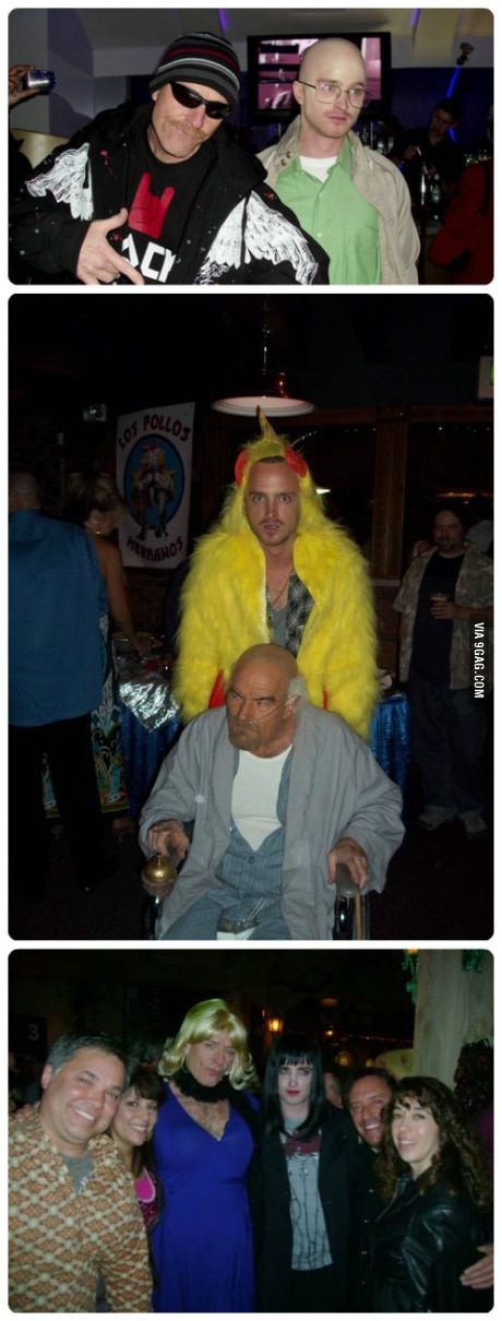 Bryan Cranston and Aaron Paul dressing up as other Breaking Bad characters for Halloween