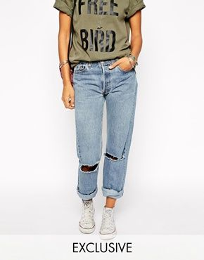Milk It Vintage High Waisted Mom Jeans With Ripped Knees And Roll Hem