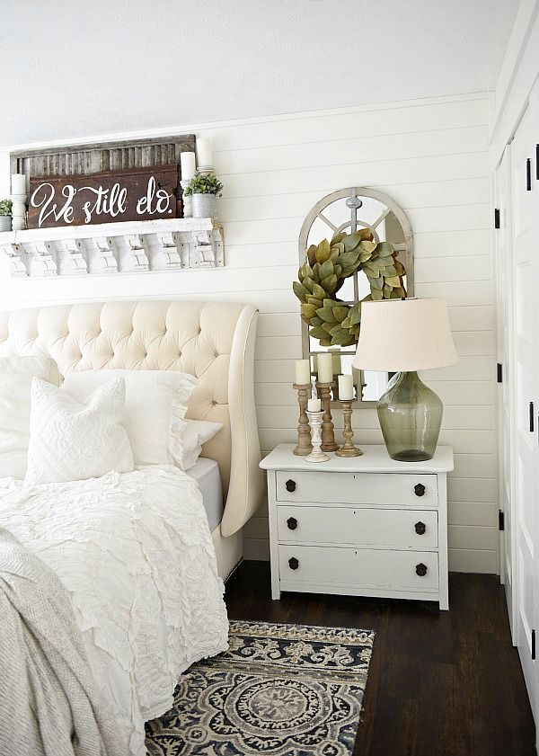 Captivating Neutral Master Bedroom   Nightstand Makeover With Magnolia Home Paint In  One Horn White. A