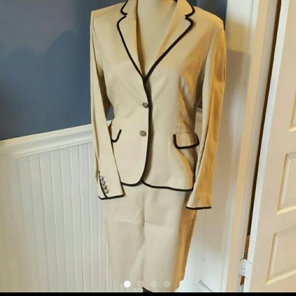 Taupe linen suit Linen blend suite in taupe with black trim.  MNG by Mango.  Size 10 USA 42 EUR.  Jacket and pencil skirt with pockets and zip back.  Jacket worn once,  skirt never worn. MNG by Mango Jackets & Coats Blazers