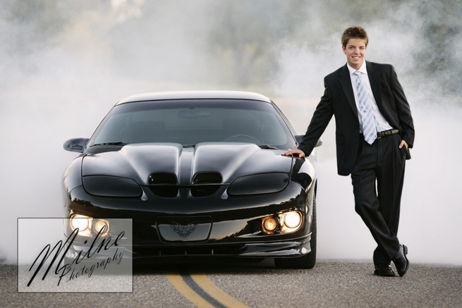 Senior Guy with Car and Smoke