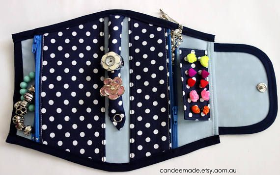 Blue Spotty Jewellery Holder, Portable and Great for Travelling!