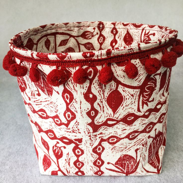 Red Protea Fabric Bucket by MaradadhiTextiles on Etsy