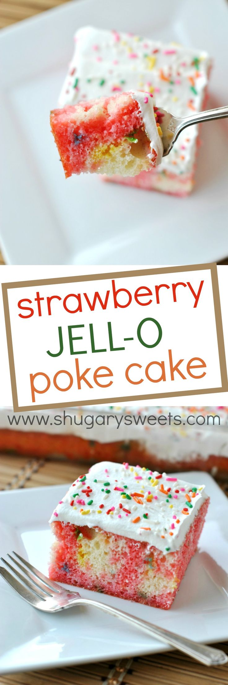 Classic Strawberry JELL-O Poke Cake with a Funfetti twist! Light and refreshing summer dessert