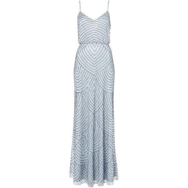 Adrianna Papell Art deco beaded dress ($125) ❤ liked on Polyvore featuring dresses, gowns, vestidos, long dresses, clearance, slate blue, long maxi dresses, v neck maxi dress, blue gown and long blue dress