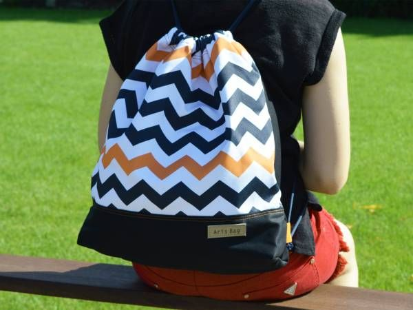 Chevron Gym bag, Canvas rucksack, Drawstring rucksack, beach bag, holiday travel picknick bag, birthday gift, girlfriend present teen design