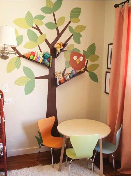 add shelves to tree limbs