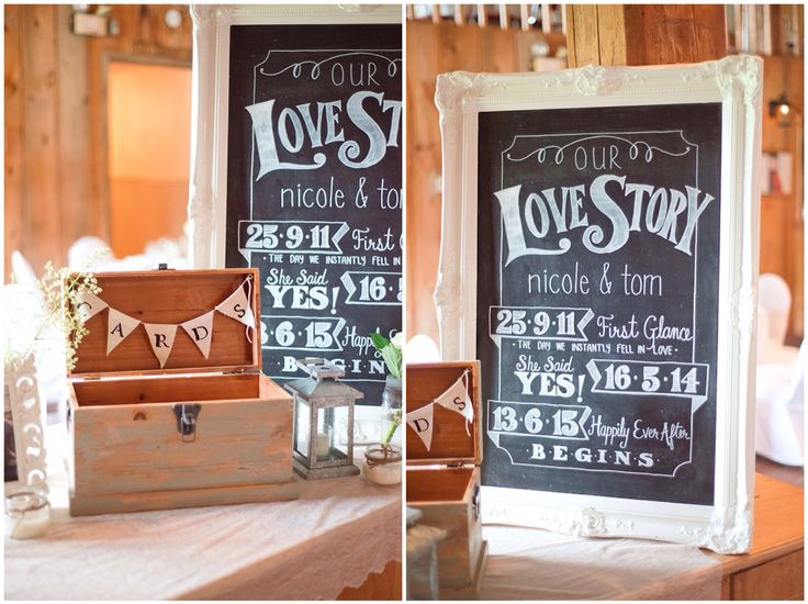 Rustic wedding, chalkboard signs. Love story signage