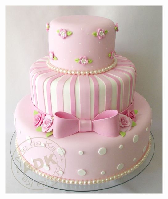 Cake Decorating Ideas - Pink with White Stripes and Polka dots