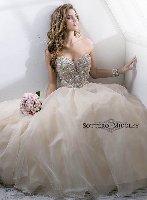 One of our most romantic ballgowns yet, Angelette from Sottero and Midgley, has a gorgeous crystal bodice and full tulle skirt! #wedding #dress #bride