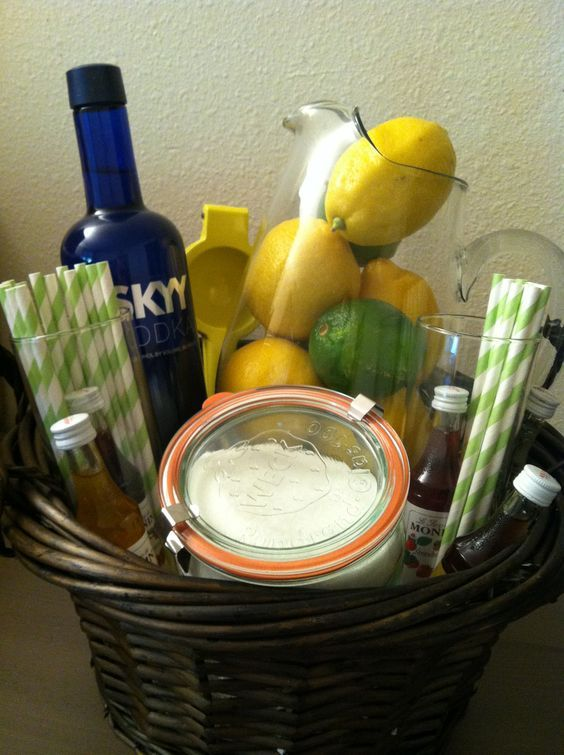 When life gives you lemons...make lemonade, but make sure to add vodka!! Gift basket with pitcher, glasses, straws, limes and lemons, sugar, lemon squeeze, flavored syrups and of course...vodka!!