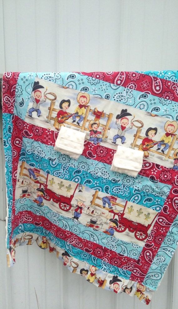 I love this! This will be great for little boy, to keep him so warm. ON SALE! Infant Car Seat Cover, Baby Playmat, cowboy baby boy nursery decor theme farm farmer country western rustic rancher horses cattle horse covered wagon vintage cattle drive ranch blue aqua red teal bandana minky car seat canopy cover velcro handle || etsy.com/shop/MissyPrissyShop