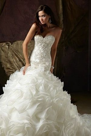WOW! Dropped waist wedding gown with amazing detail in the torso area!