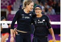 Image: (From left) Kerri Walsh & Misty May-Treanor during a beach volleyball match against Austria on Wednesday (© Jae C. Hong/AP)