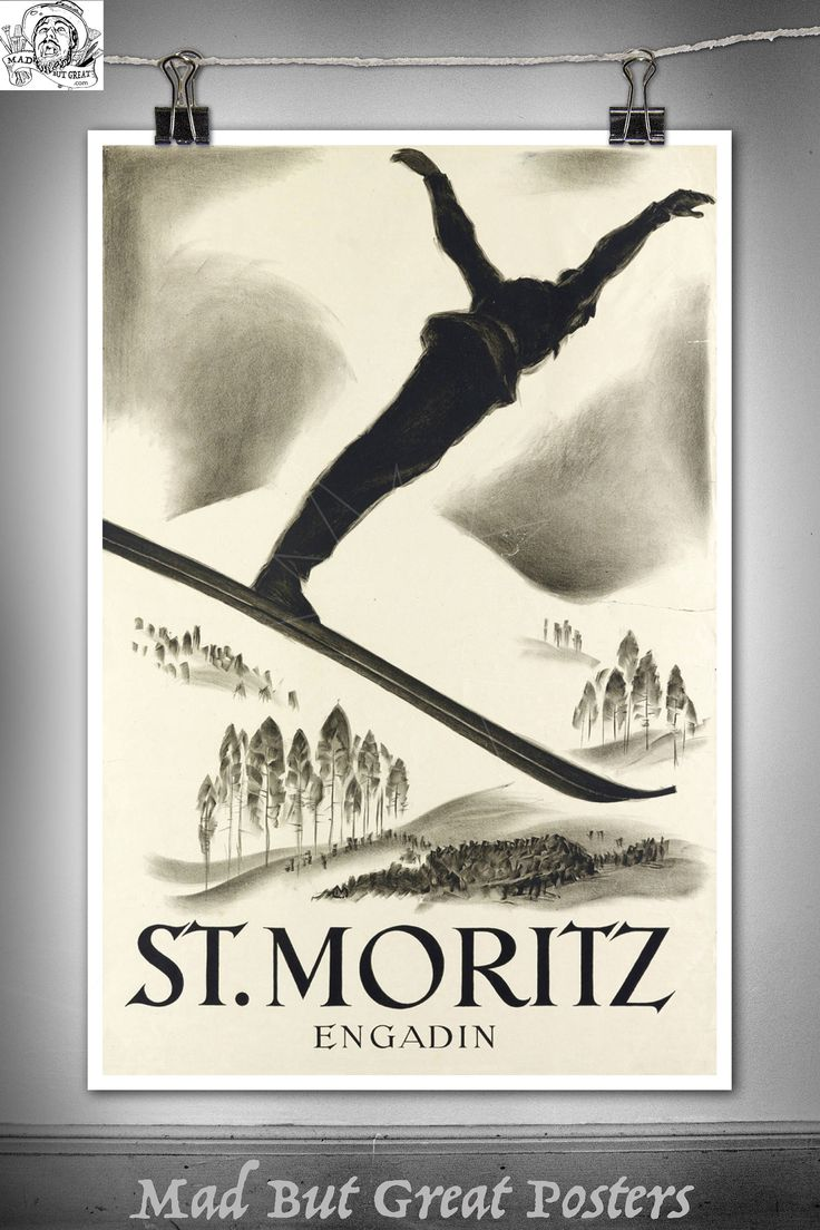 St.  Moritz - Engadin - Carl Moos - 1926, canvas, vintage, home decor, gift, print, french, travel, office, Sports d'Hiver, ski, wall art by MadButGreatPosters on Etsy