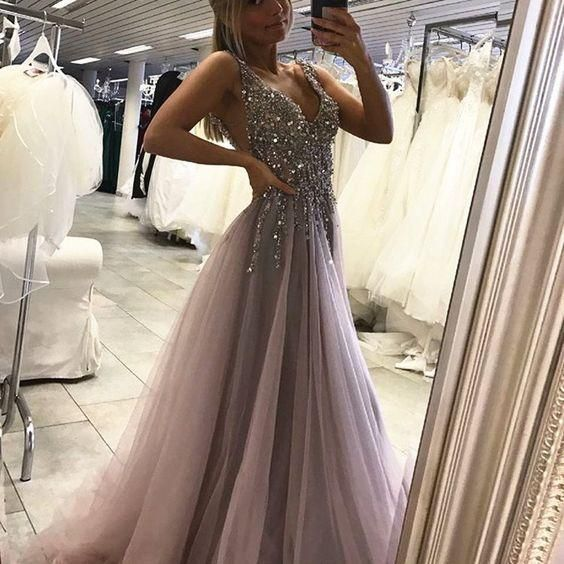 Gray prom dresses,Deep V-neck prom dress,Side Slit prom gowns,Tulle Long Prom Dress With Crystals MT20189695