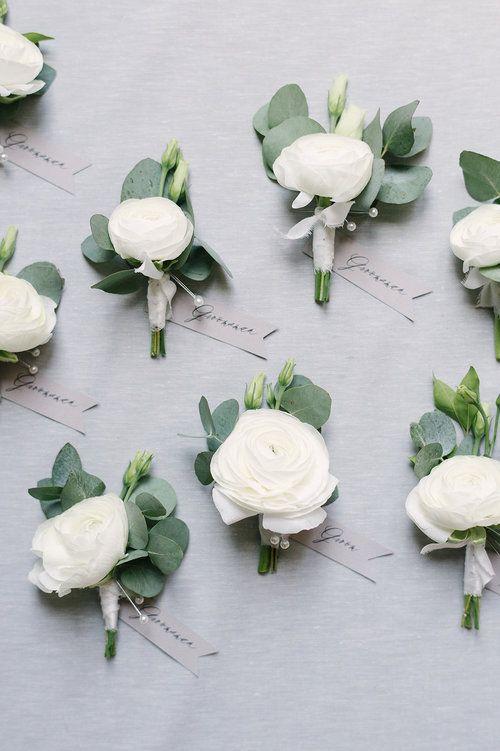 White ranunculus boutonnière idea with eucalyptus for accent greenery, wrapped with silk ribbon! So beautiful! #wedingflowers #boutonniereideas #silkribbon #virginiaweddingflorist