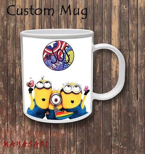 Despicable Me Minion - 5SOS Logo Custom Mug Coffee or Tea  Your favorite photo or funniest saying is a great way to start the day. Use our white custom mug to showcase your creativity. It has a large
