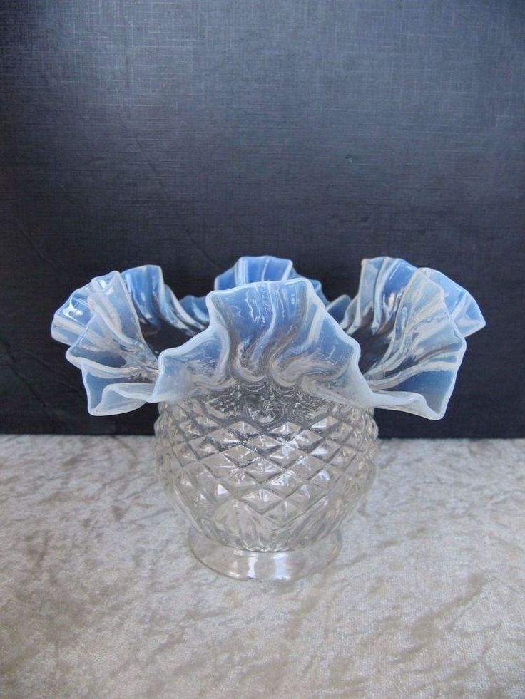 Antique Victorian Quilted Opalescent Blue Vaseline Ruffled Glass Lamp Shade