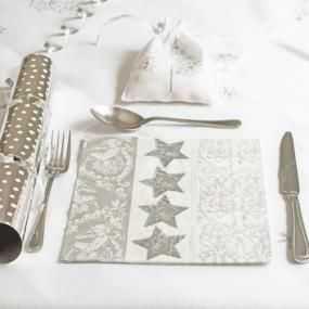 Silver Christmas paper napkins - Stars and Ornament & 68 best Paper napkins images on Pinterest   Paper napkins ...
