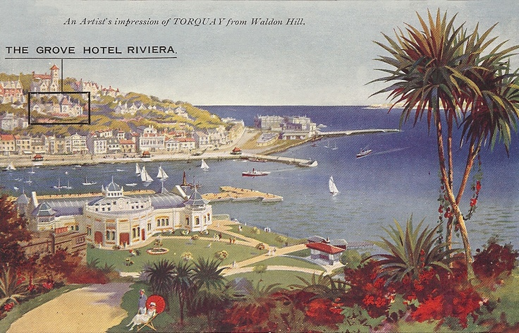 Devon, Torquay, The Grove Hotel Riviera 1930's - artist's impression.