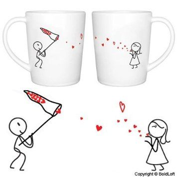 """Amazon.com: BoldLoft """"Catch My Love"""" His and Hers Coffee Mugs-Valentines Day Gifts for Him for Her,Valentines Day Gifts for Girlfriend Boyfr..."""