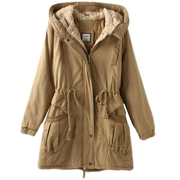 Khaki Vintage Warm Winter Tunic Hooded Womens Parka Coat (3,760 THB) ❤ liked on Polyvore featuring outerwear, coats, jackets, khaki, vintage parka, vintage coat, parka coat, khaki coat and brown coat