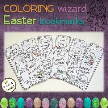 Coloring WIZARD Easter bookmarks - Cut, color and glue !