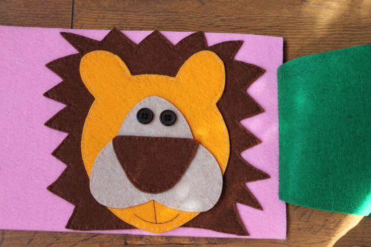 felt lion, filcowy lew za liściem Kaliniaki