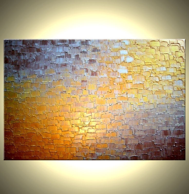 """Path to Gold, 24 x 36"""" abstract palette knife painting. $155"""