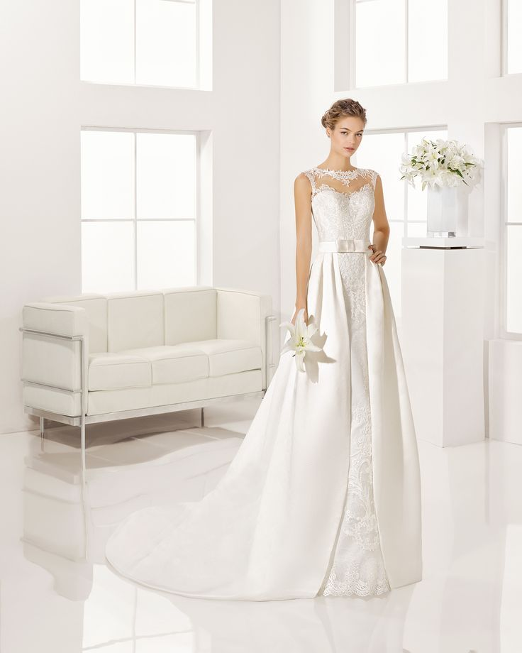 Beaded guipure lace and duchess satin dress, or duchess satin overskirt, in…