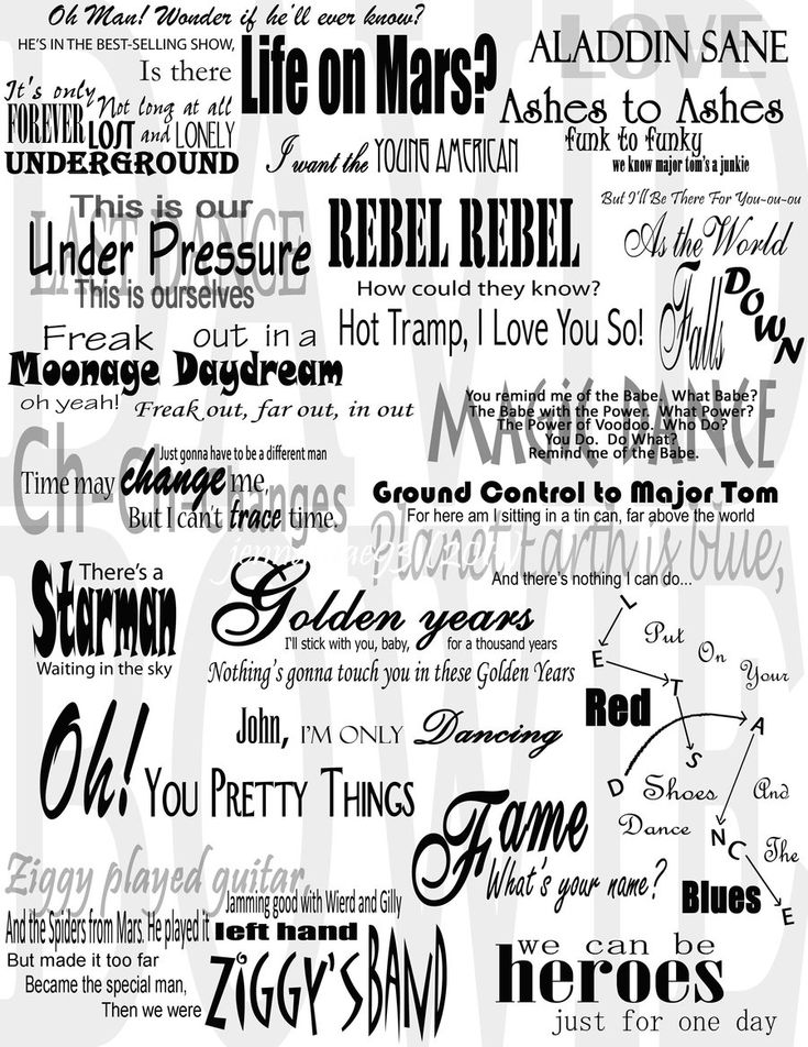 David Bowie Lyrics Collage by ~jennamae93 on deviantART