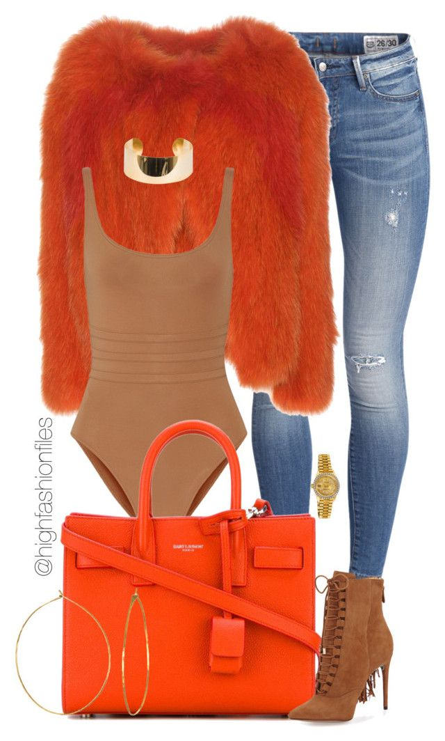 """Tangerine "" by highfashionfiles ❤ liked on Polyvore featuring Vanessa Bruno, Eres, Yves Saint Laurent, Alexandre Birman, Phyllis + Rosie, Elie Saab and Rolex"